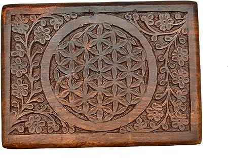 La Fuente De New Age Caja de madera tallada de la flor de la vida ...