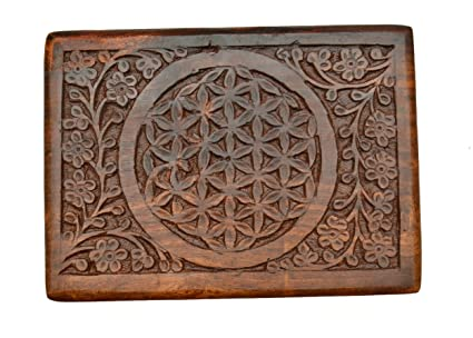 amazon com the new age source carved wood box flower of life home