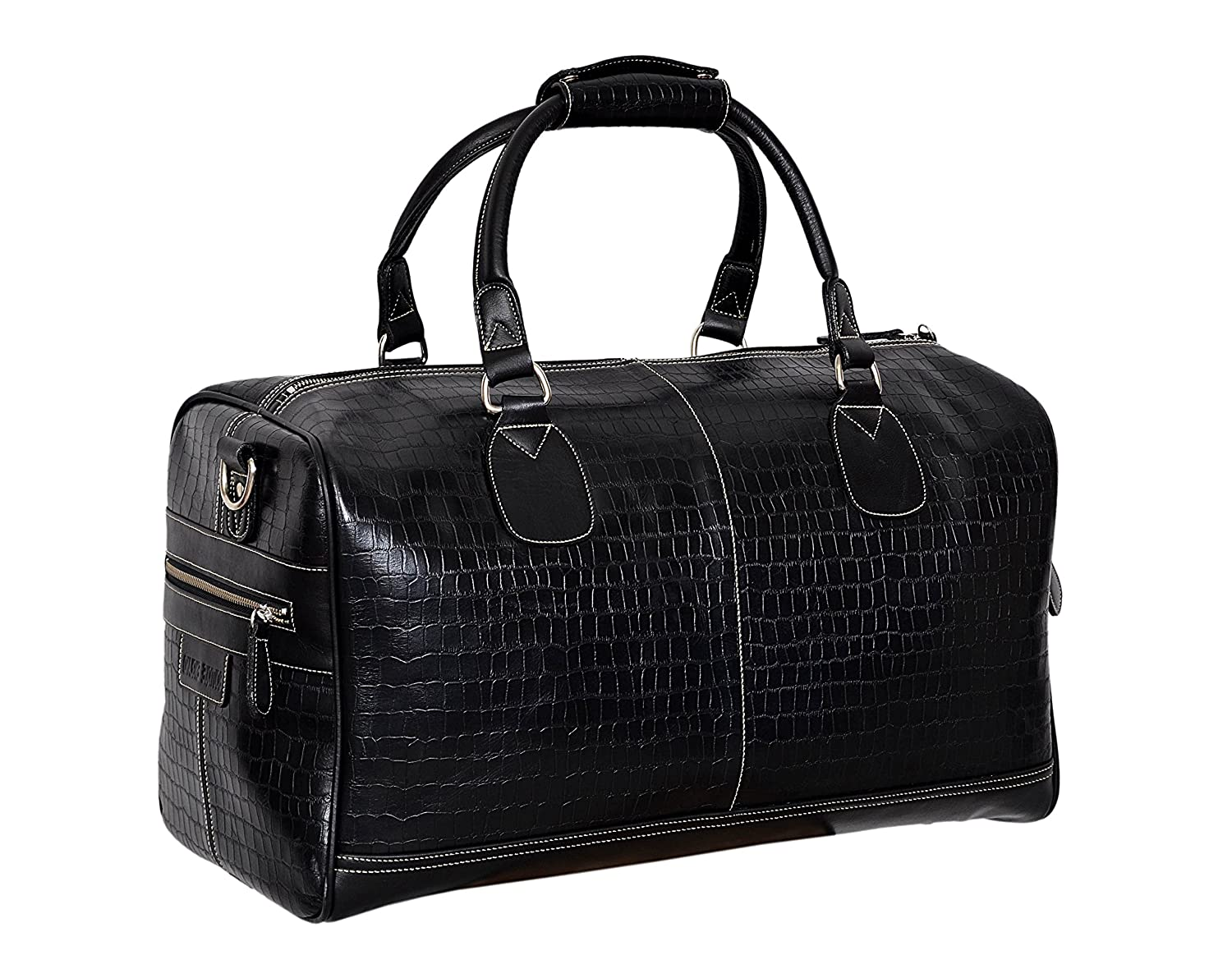 d3cd9eadc9 NEW  DUFFLE  LARGE Weekend Holdall Travel Gym Real Genuine Leather Bag  (Black CROC) (L)  Amazon.co.uk  Shoes   Bags