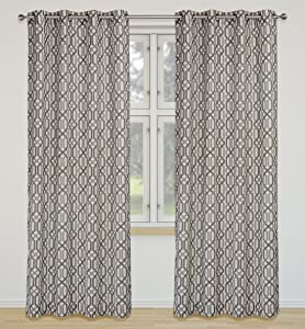 LJ Home Fashions 00460 Linked Geometric Linen Grommet Curtain Panels (Set of 2), 52x95-in, Ivory/Silver/Grey