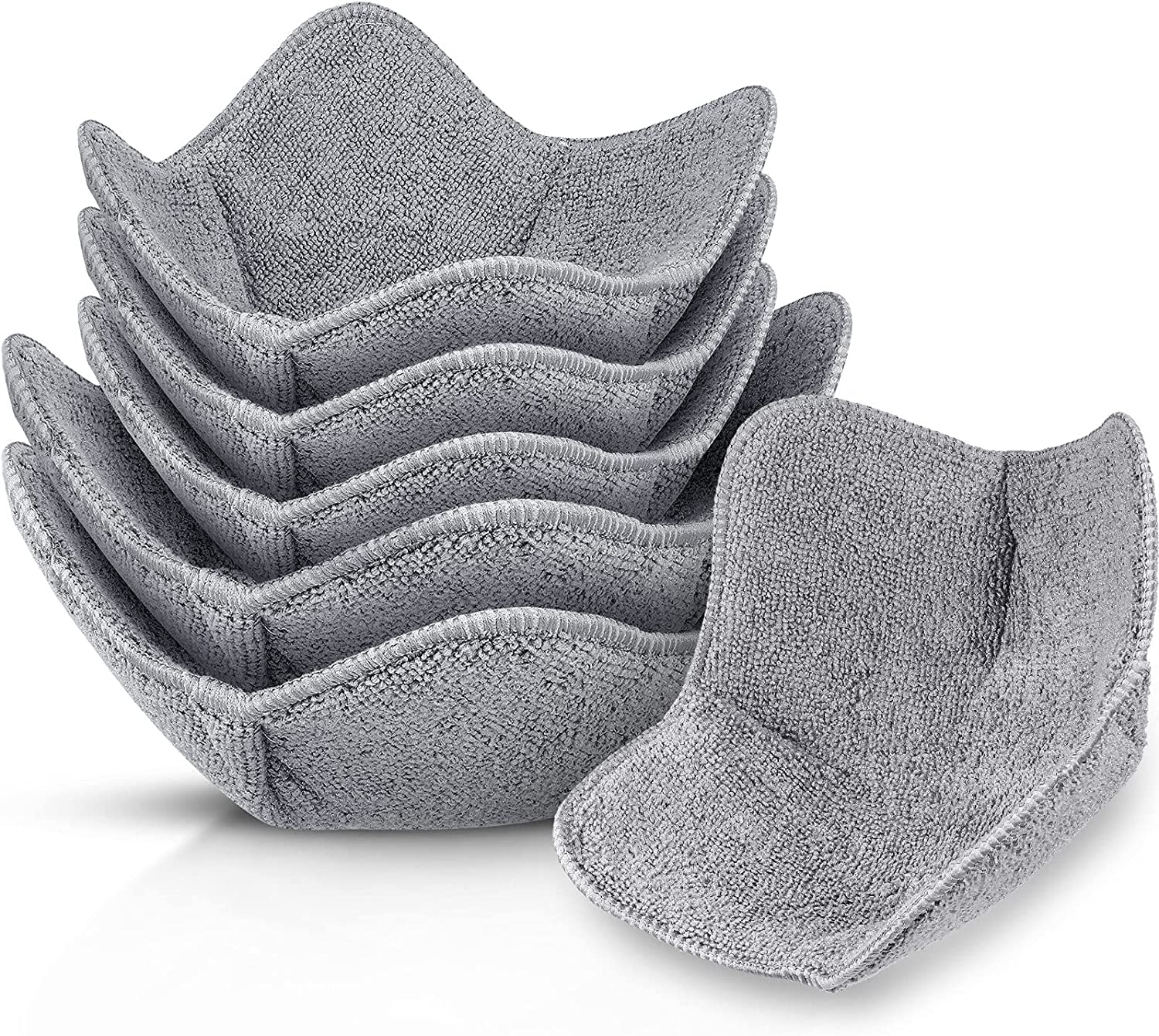 6 Pieces Bowl Huggers Microwave Safe Holder Multipurpose Hot Heat Resistant Plate Holder Polyester Potholder Protector to Keep Your Hands Cool and Your Food Warm for Heat Soup, Food, Meals (Grey)