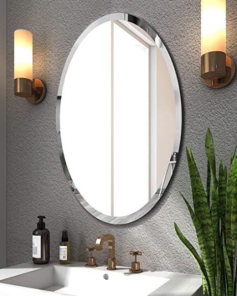 Amazon Com Kohros Oval Beveled Polished Frameless Wall Mirror For Bathroom Vanity Bedroom 24 W X 35 H Oval Home Kitchen