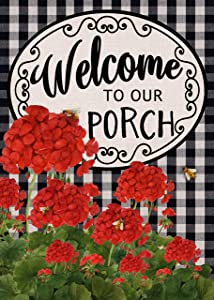 Covido Home Decorative Welcome to Our Porch Spring Summer Garden Flag, Buffalo Plaid Check House Yard Geranium Decor Flower Outside Decoration, Farmhouse Outdoor Small Burlap Flag Double Sided 12x18