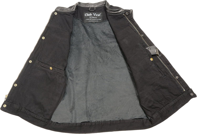 Clubvest Mens Concealed Snap Denim Club Vest w//Hidden Zipper