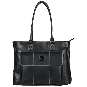 """Kenneth Cole Reaction Women's Casual Fling Pebbled Faux Leather Top Zip 16"""" Laptop Business Travel Tote, Black"""