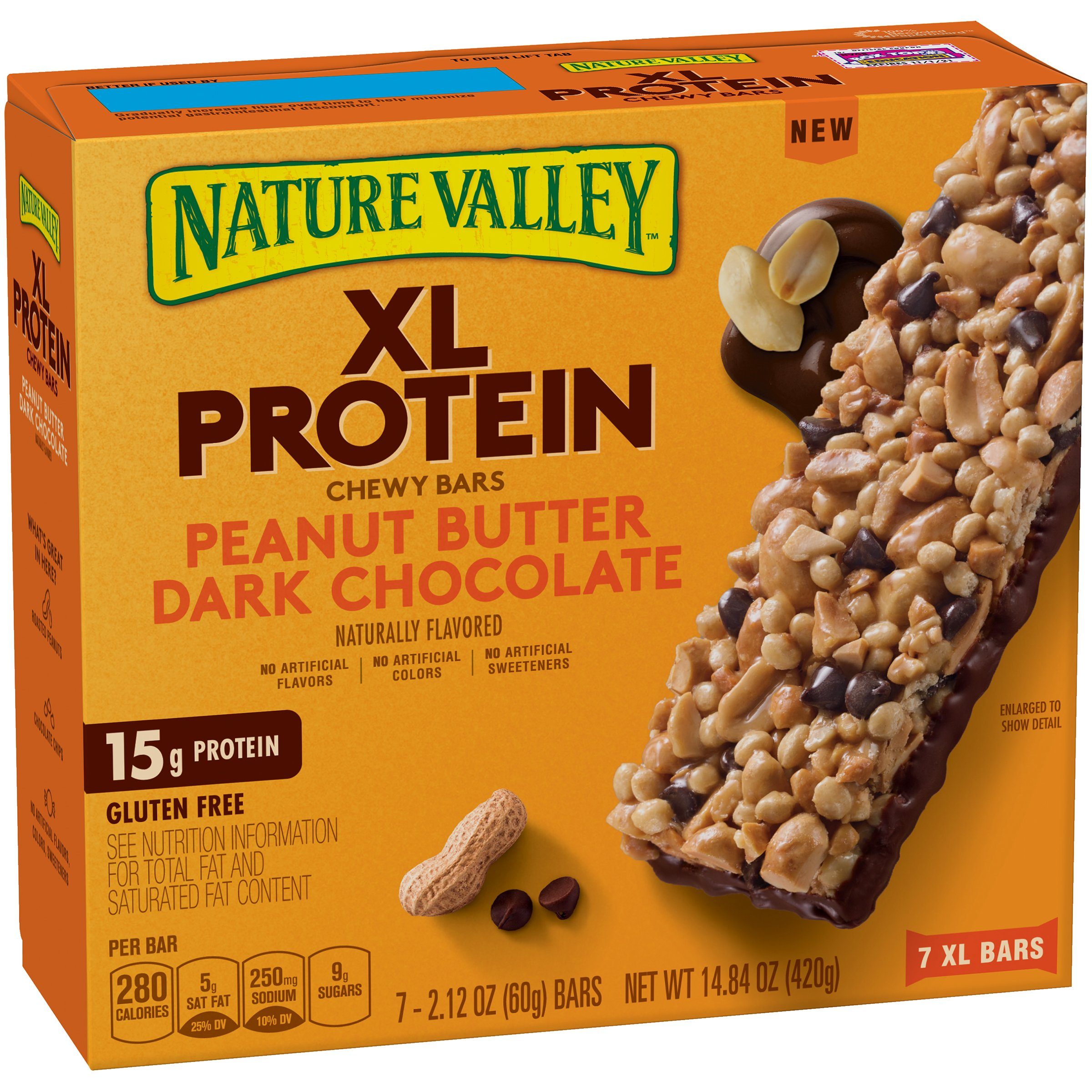 Nature Valley Chewy Granola Bar, XL Protein, Gluten Free, Peanut Butter Dark Chocolate, 7 Bars, 2.12 oz (Pack of 6)