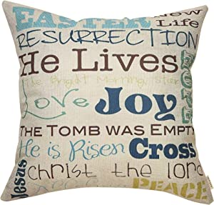 Fjfz Rustic Farmhouse Style Easter Sign Happy Spring Seasonal Decor Cotton Linen Home Decorative Throw Pillow Case Cushion Cover with Words for Sofa Couch, 18