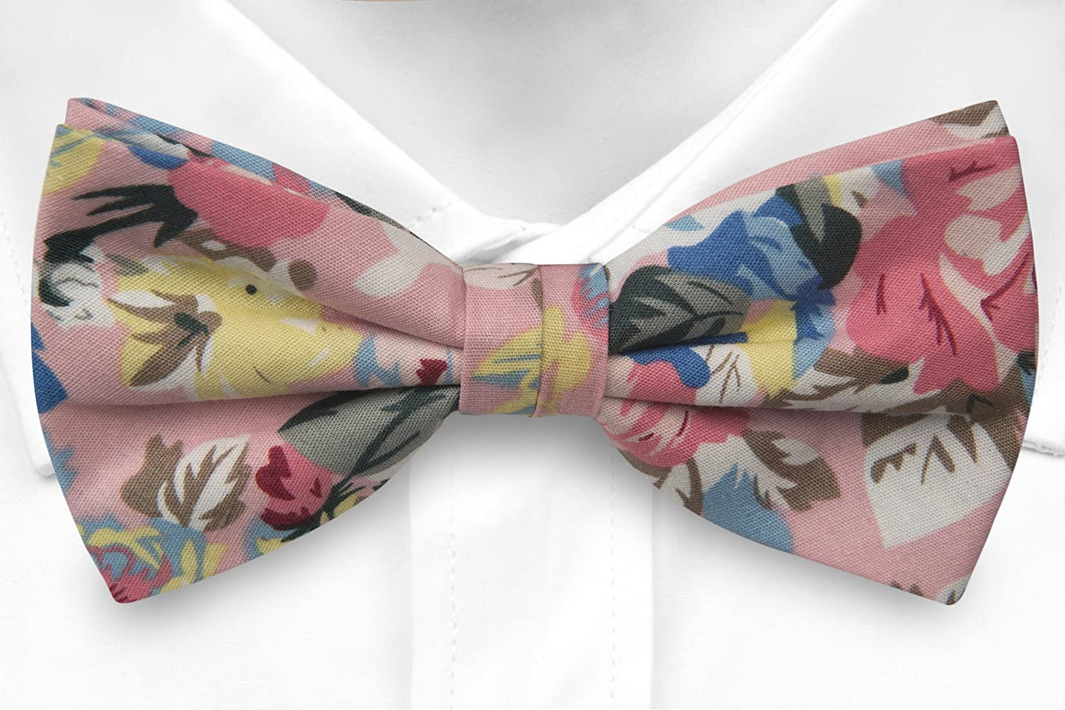 Self tie bow tie - Yellow and pink flowers on blue base Notch gCCXhaLSck