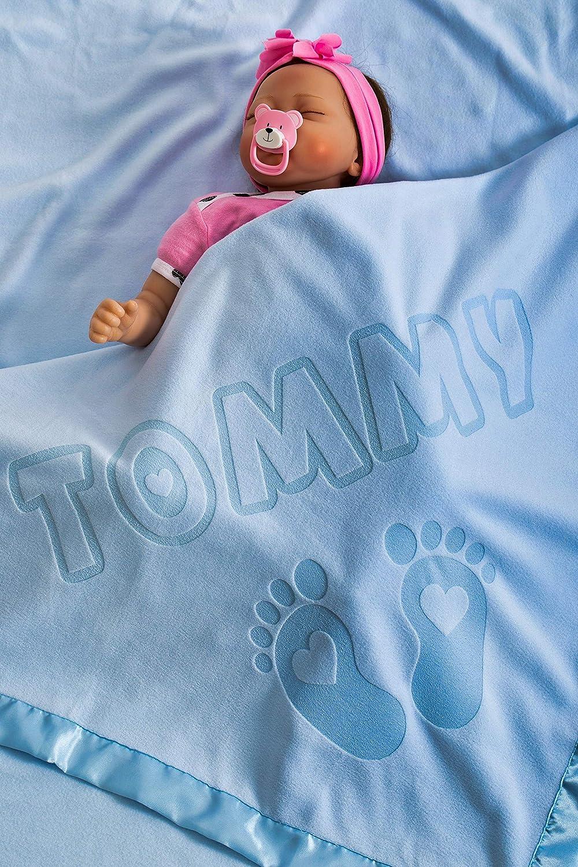 Manta De Bebé Personalizada Con Nombre y Diseño de Pies, Tamaño 88x88CMCM, Adorno de Satén