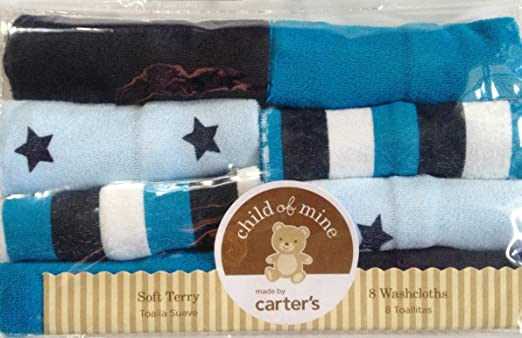Amazon.com : Carters Blue Turquoise White Stripe Stars Baby Infant Newborn Washcloths 8-Pack : Nursery Blankets : Baby