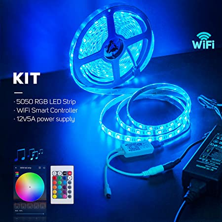 BTF-LIGHTING RGB 5050 Led Strip Kit Wifi Wireless Smart Phone Controller + 16.4ft 300 Leds 5050 SMD Waterproof IP65 RGB LED Lights + DC12V5A Power Adapter Working with Android and IOS System,Alexa:
