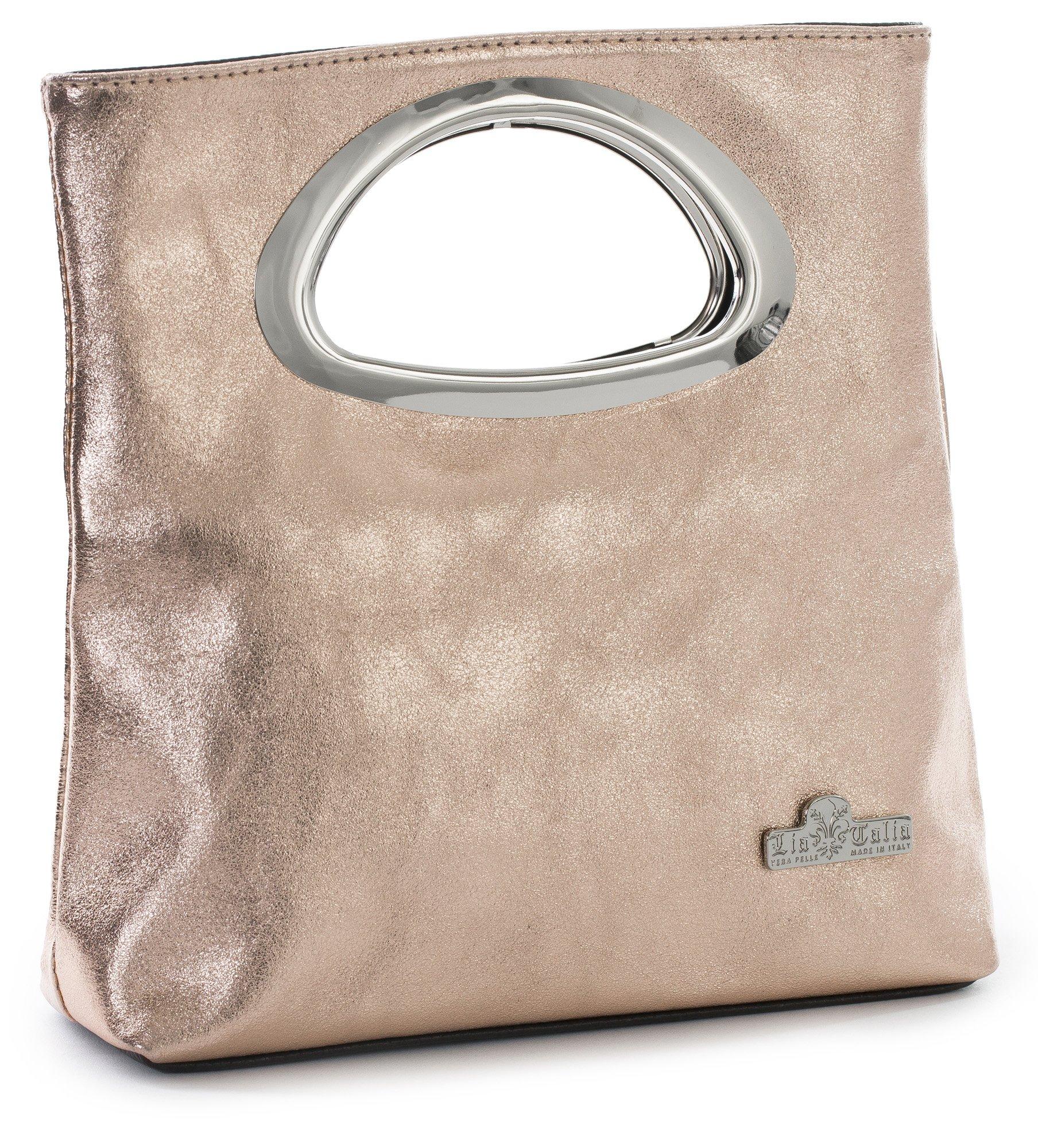 LIATALIA Plain Italian Suede Leather Top Handle Small Foldable Evening Purse Clutch Bag - RHEA [Metallic - Rose Gold]