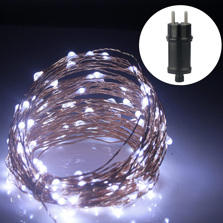 ALED LIGHT 20M 200 LEDs Kupferdraht LED Kupfer Lichterkette, Wasserdicht Sternen Lichterketten, Weihnachtsleuchte, sternenklar und romantisch Lampenkette für Weihnachten / Hochzeit / Party, Weihnachtsbeleuchtung [Energieklasse A+] (Warmweiß)