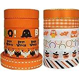 "DUOQU 24 Yards 3/8"" 12 Styles ( 12x2yd ) Halloween Ribbon With Grosgrain Ribbon Satin Ribbon Plaid Ribbon Printed Halloween Element Pattern Orange Series"