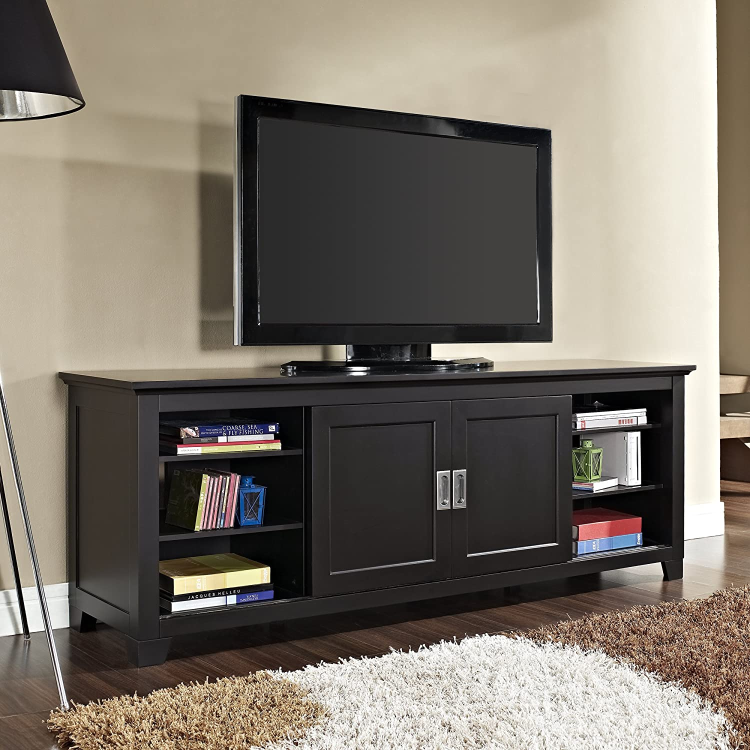 Amazon Com New 70 Inch Wood Tv Stand With Sliding Doors In A