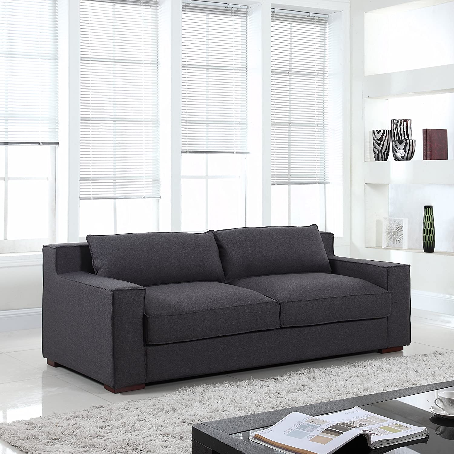 Amazon.com: Divano Roma Furniture - Modern Capri Linen Sofa ...