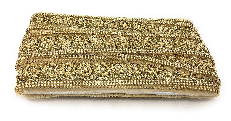 Inhika applique gold zari on net white stone side channel used saree