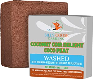 SILLY GOOSE GARDENS, Coco Coir, Coconut Fiber, Compressed Coco peat Brick 11lbs, for Organic Gardening, Environmentally Friendly and a Sustainable Resource. Alternative to Peat Moss.