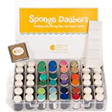 Creative Craft Company 48-Piece Sponge Daubers with 50 Labels, 1.5-Inch Square Gold Ink Pad and Storage Case