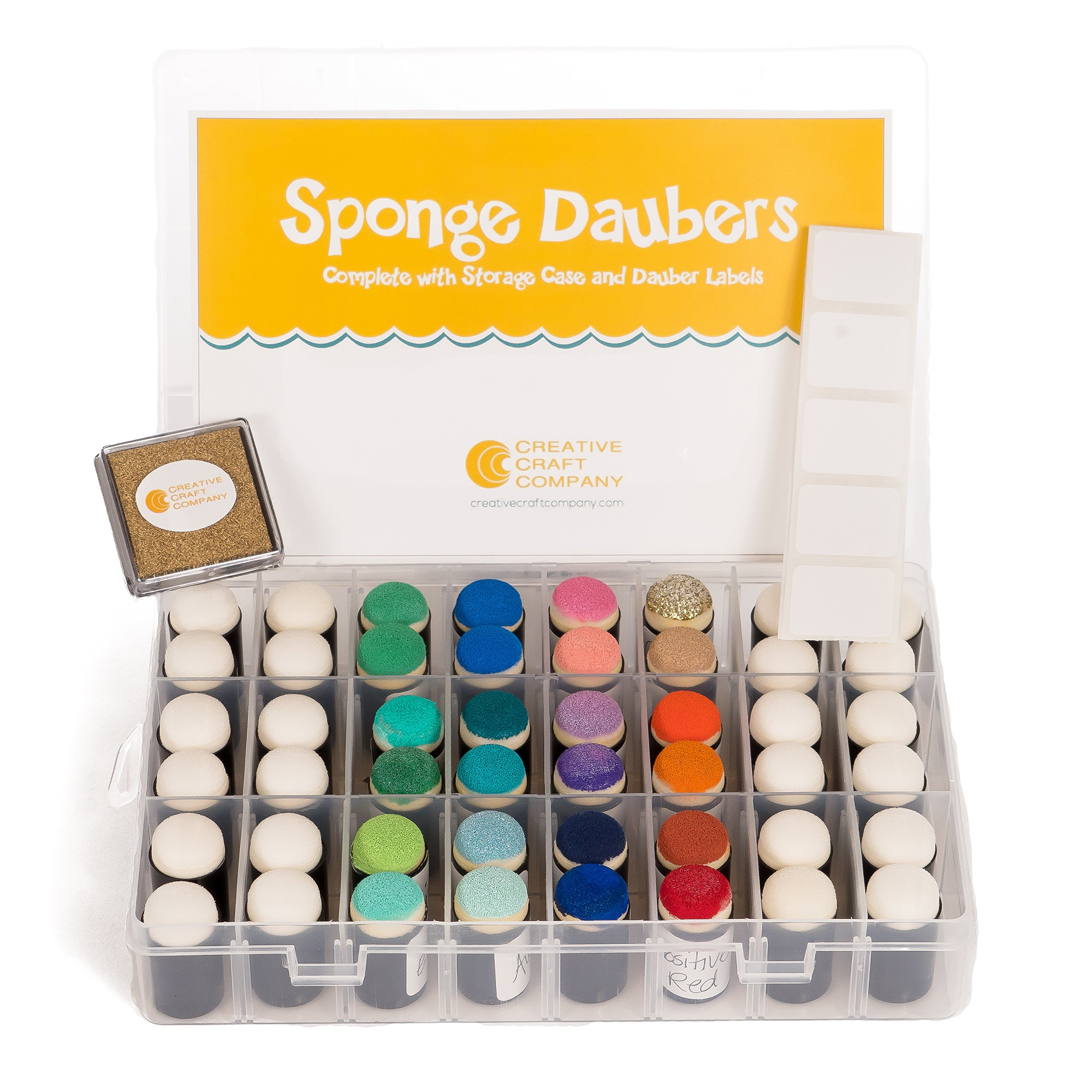 Creative Craft Company 48-Piece Sponge Daubers with 50 Labels, 1.5-Inch Square Gold Ink Pad and Storage Case by Creative Craft Company