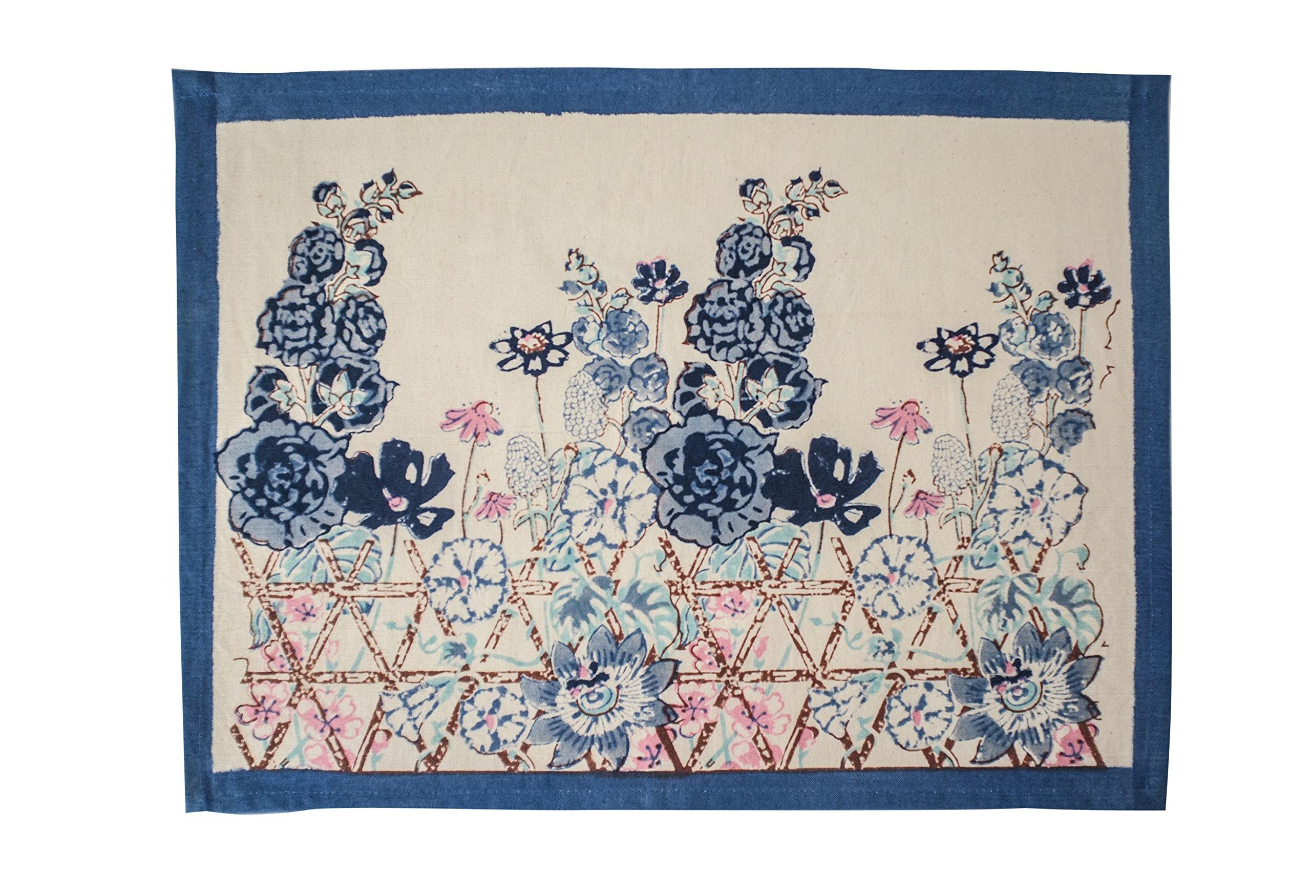 Couleur Nature Fleur Sauvage Placemats (Set of 6), Blue, 15 by 18''