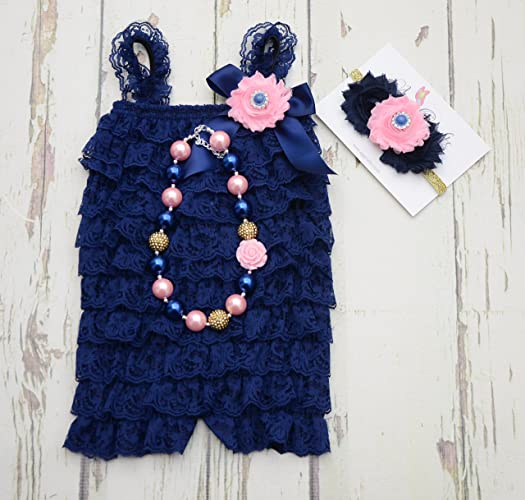 20cf1277f Navy Blue lace romper set: Amazon.co.uk: Handmade