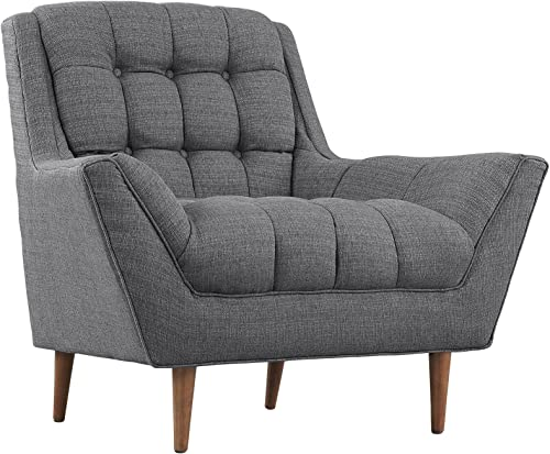 Modway EEI-1786-DOR Response Upholstered Fabric Accent Arm Lounge Chair Gray