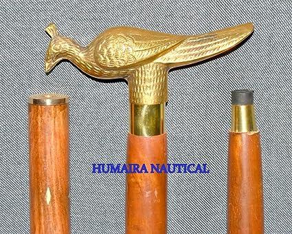 Walking Sticks/canes Antique Designer Knobe Solid Brass Handle With Wooden Leather Walking Stick Cane