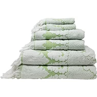 Nysa 100-Percent Genuine Turkish Cotton Floral Ornament Jacquard Hand-Knotted Fringe 6-Piece Towel Set - (Greenery)