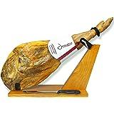 Serrano Ham Bone in from Spain 14.7-17 lb + Ham Stand + Knife | Cured Spanish Jamon Made with Mediterranean Sea Salt & NO Nitrates or Nitrites