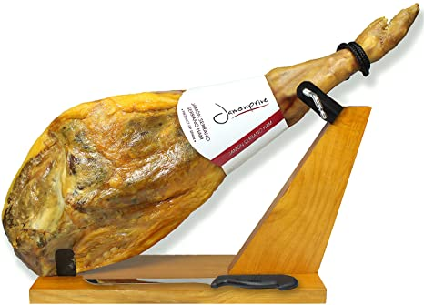 Serrano Ham Bone in from Spain 14.7 - 17 lb + Ham Stand + Knife - Cured Spanish Jamon Made with Mediterranean Sea Salt & NO Nitrates or Nitrites