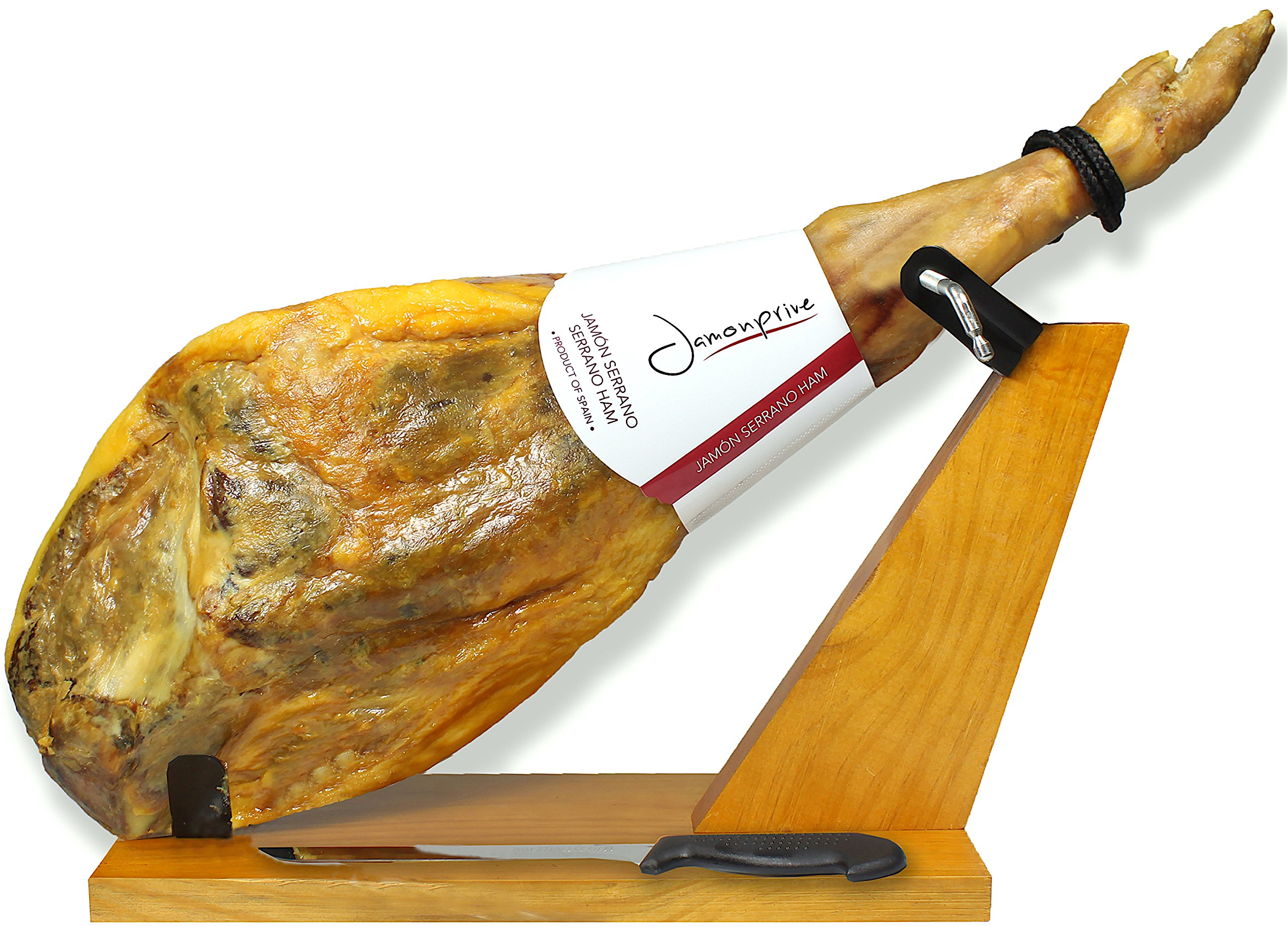Serrano Ham Bone in from Spain 14.7-17 lb + Ham Stand + Knife   Cured Spanish Jamon Made with Mediterranean Sea Salt & NO Nitrates or Nitrites
