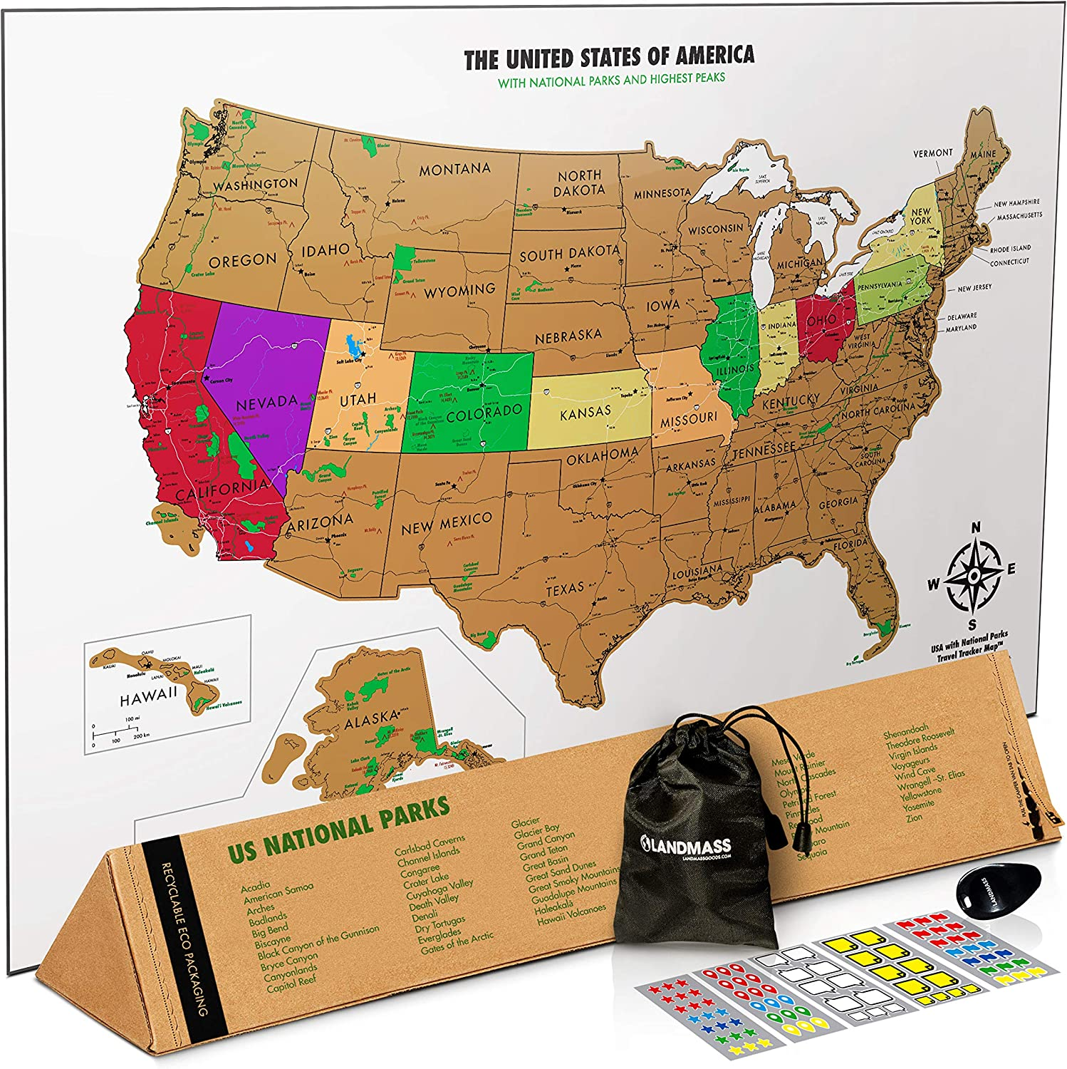 United States Map Image Amazon.com: Landmass Scratch Off Map Of The United States   White
