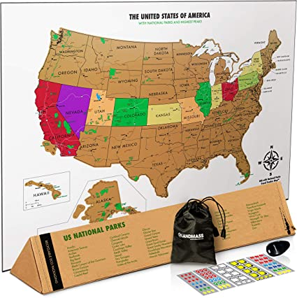 Landmass Scratch Off Map of The United States - White Scratch Off USA Map  Poster - US National Parks - State Capitals - Peaks and Highways - Scratch  ...