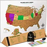 Landmass Scratch Off Map Of The United States - White Scratch Off USA Map Poster - US National Parks - State Capitals - Peaks