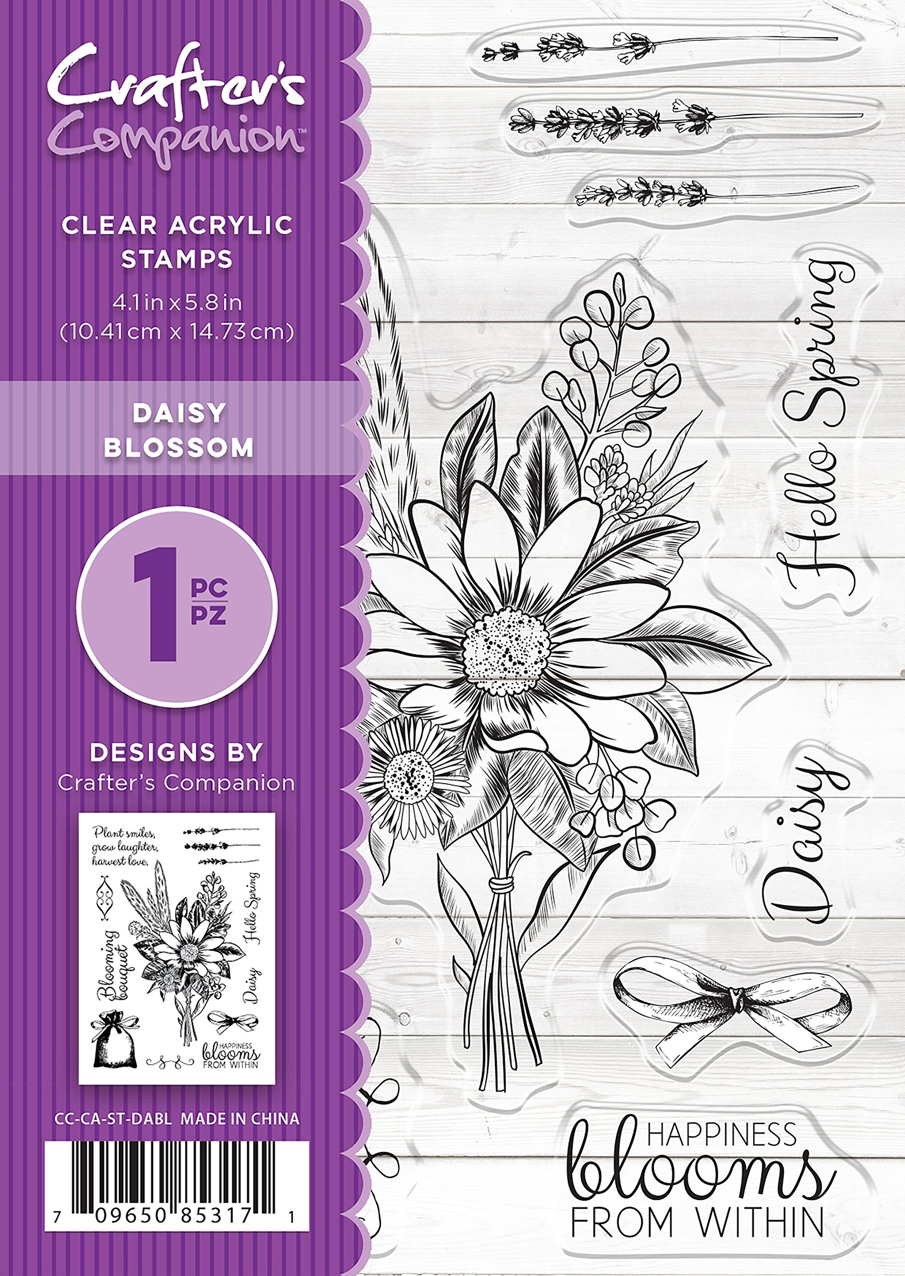 Crafter's Companion CC-CA-ST-DABL A6 Daisy Blossom Clear Stamp