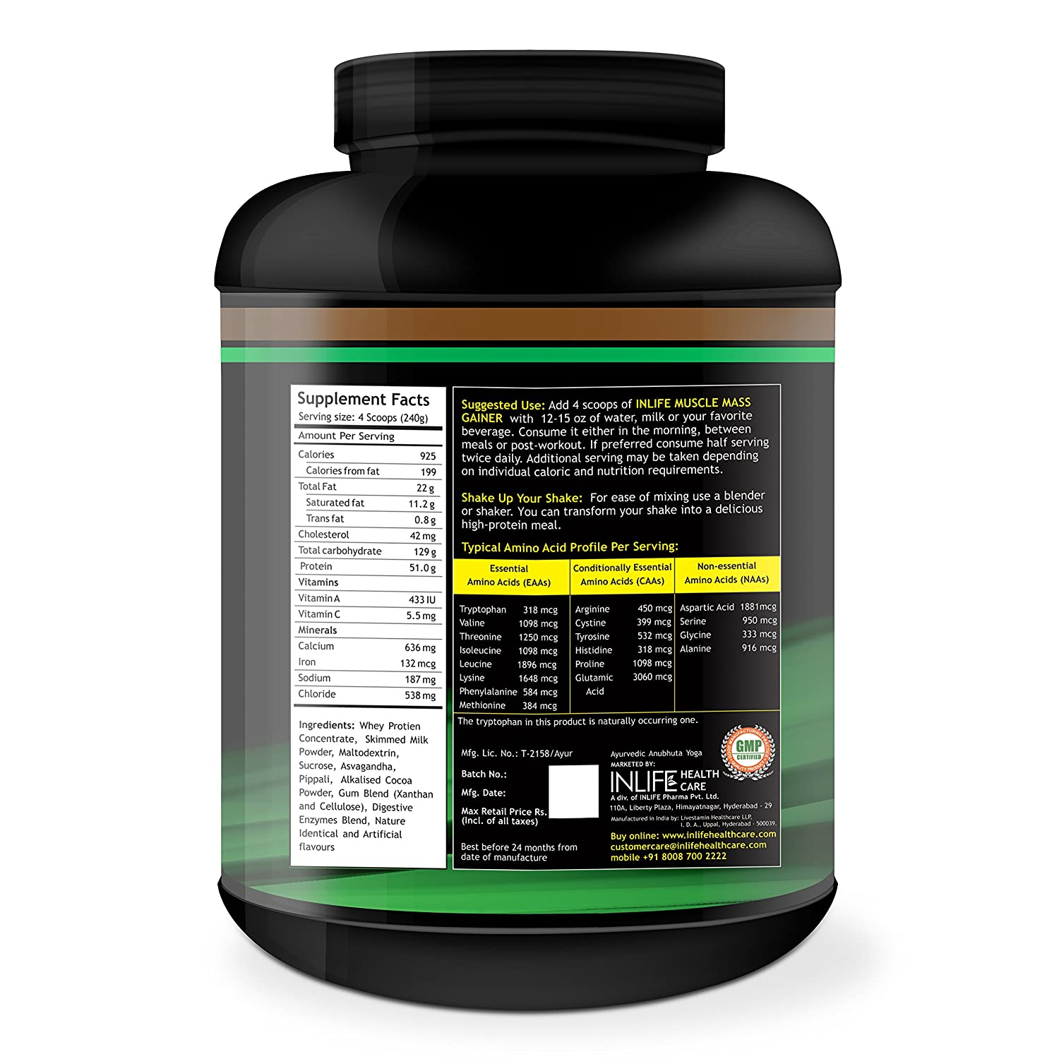 Buy Inlife Muscle Mass Gainer Protein Supplement - 5lbs