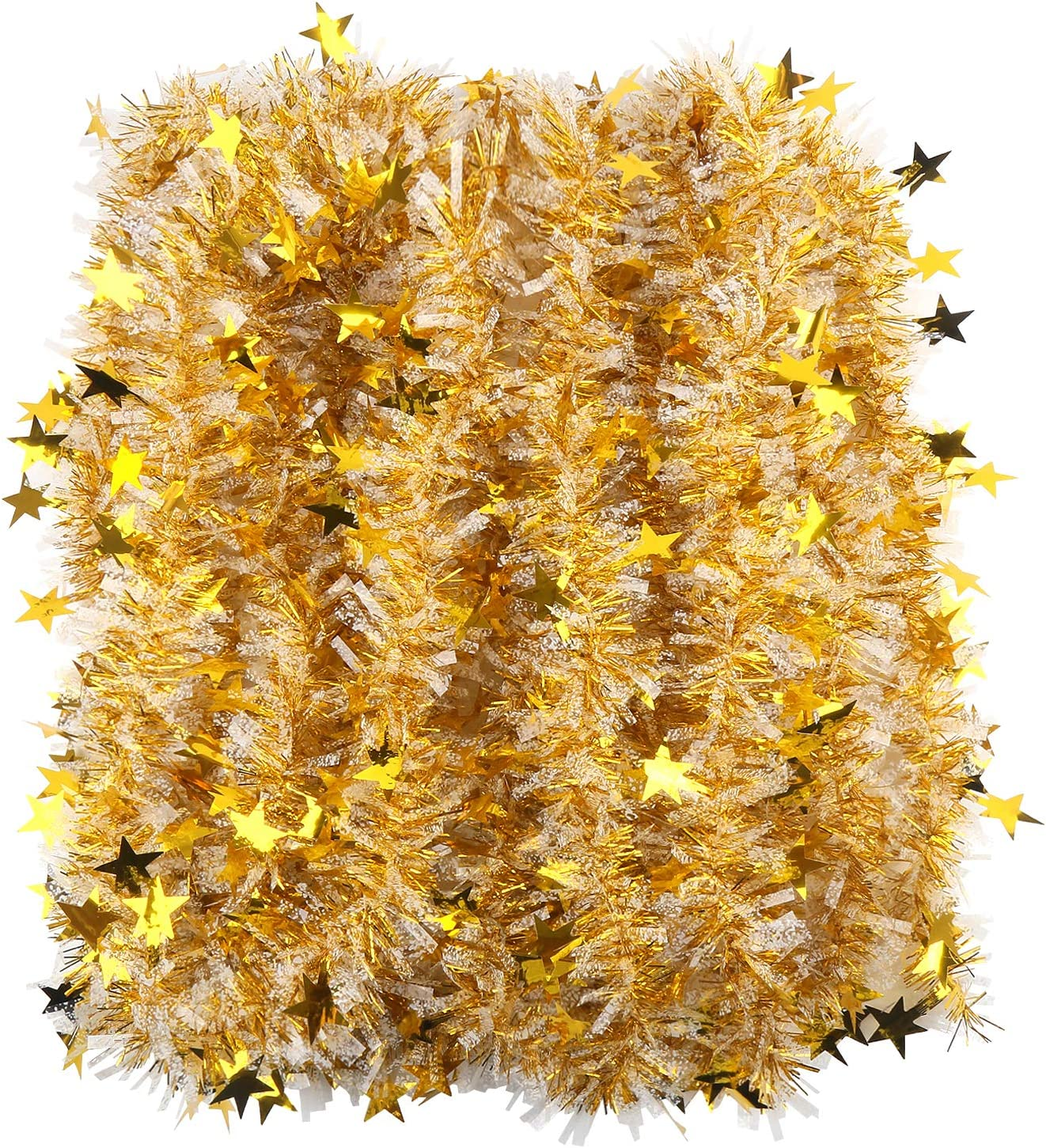 CCINEE 33FT Christmas Tinsel Garland,Metallic Twist Garland in Gold and White for Christmas Tree Party Dcoration Supply