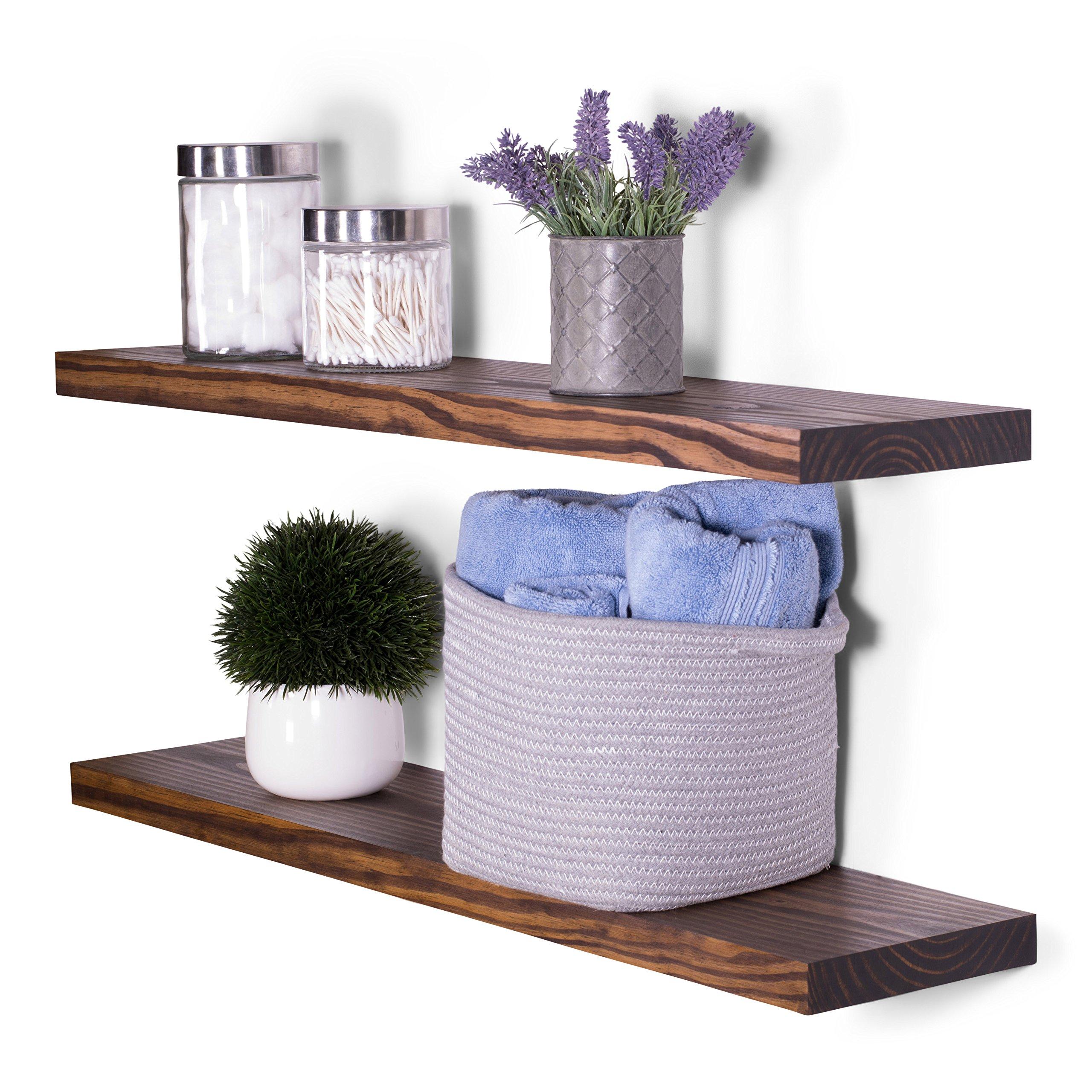 DAKODA LOVE 8'' Deep Clean Edge Floating Shelves, USA Handmade, Clear Coat Finish, 100% Countersunk Hidden Floating Shelf Brackets, Beautiful Grain Pine Wood Wall Decor (Set of 2) (36'', Espresso)