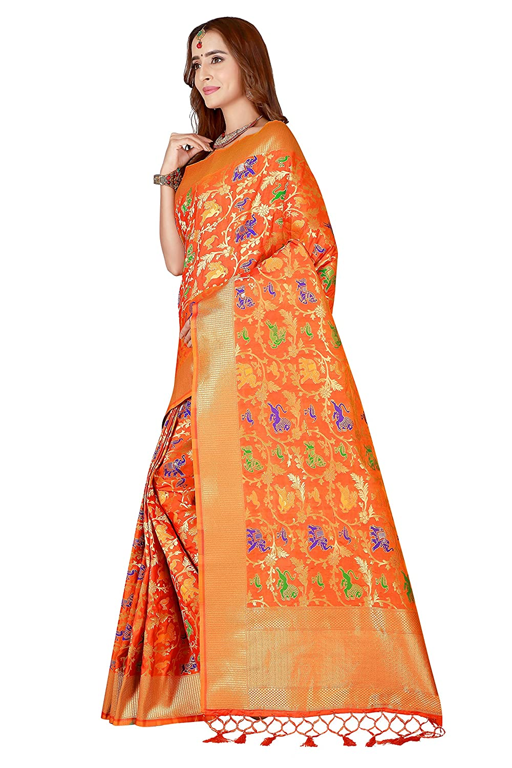 230f3411fc Belomoda Dark Orange Color Art Silk Fabric Weaving Wedding Fancy Saree For  Women with Heavy Blouse,Reach Pallu Reach Concept: Amazon.in: Clothing & ...