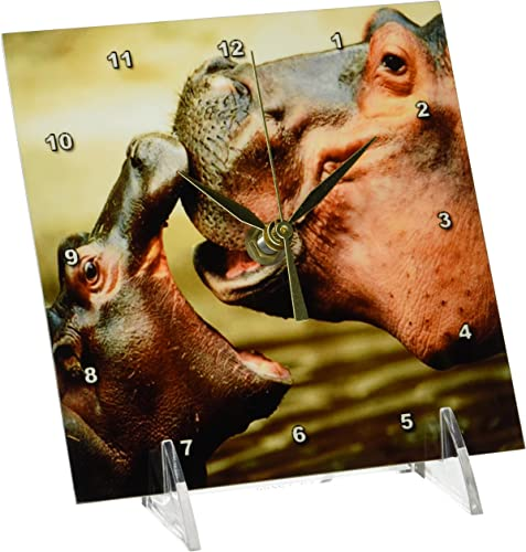 3dRose dc_54156_1 Mama Hippo Kisses Her Baby Desk Clock, 6 by 6-Inch