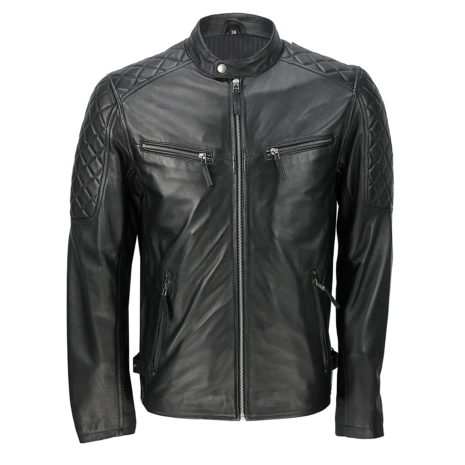 Mens Black Real Soft Sheep Leather Classic Smart Casual Biker Style Zipped Bomber Jacket