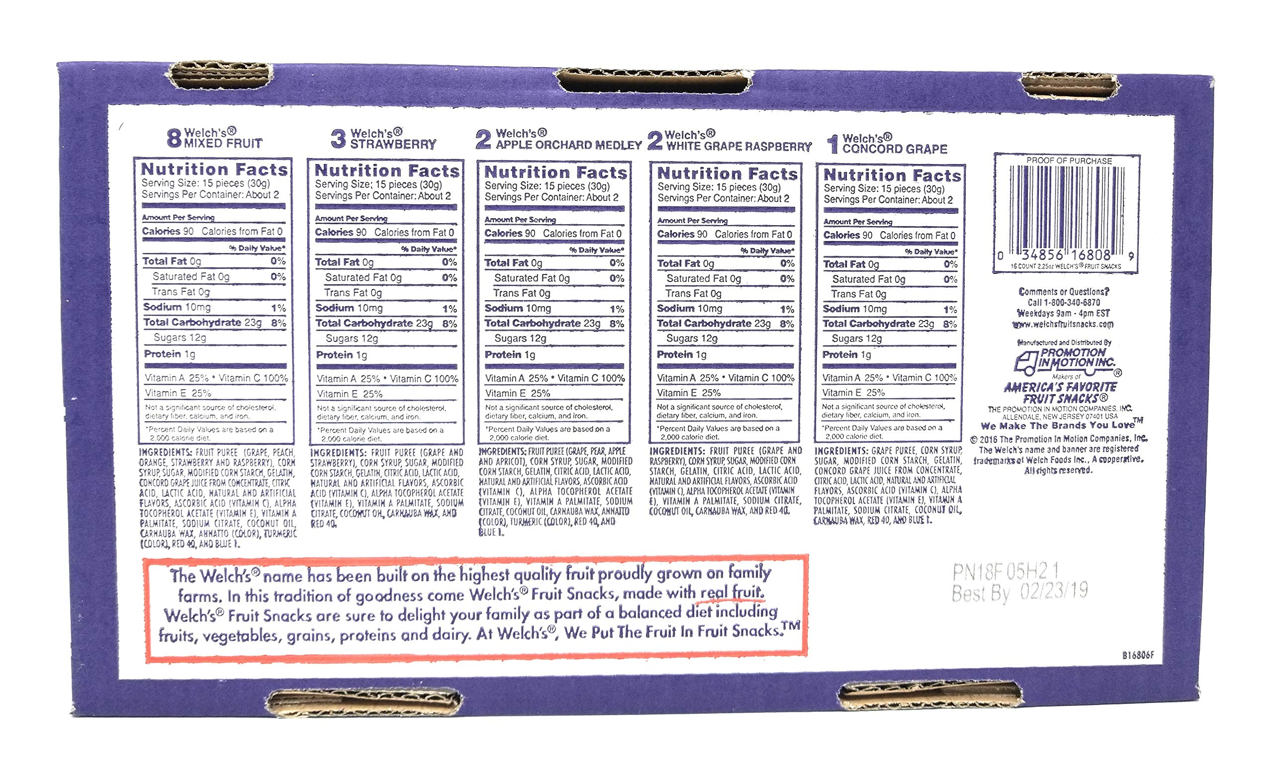 Welch's Variety Pack Bags of Fruit Snacks -  5 flavor 16 pack, 2.25 oz by Welch (Image #2)