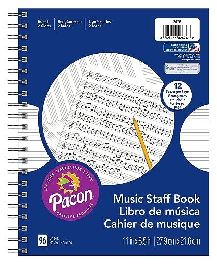 Pacon Music Staff Paper Spiral Bound Book 11 X 8 1 2