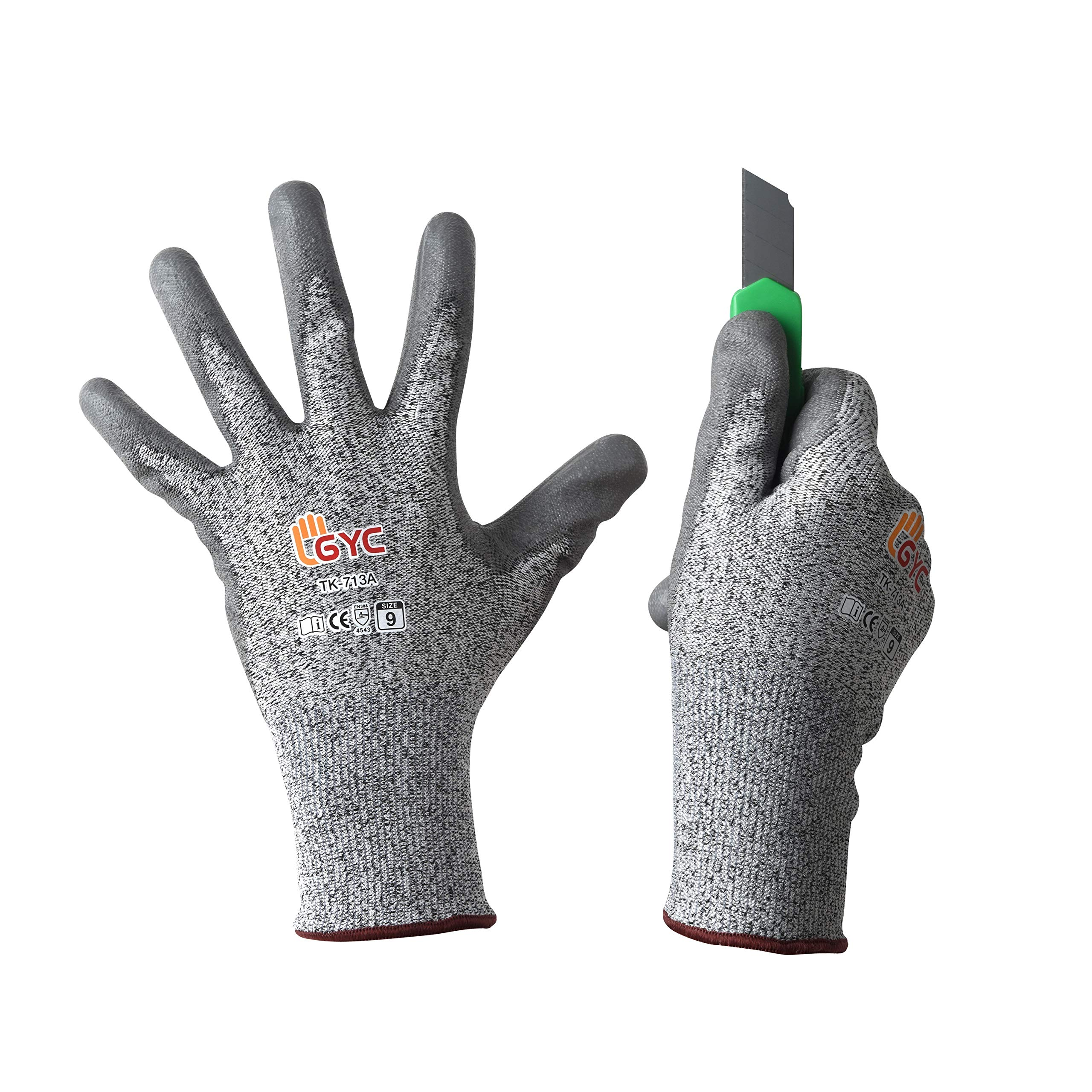 GYC Gloves, Cut Resistant Gloves Safety Work Gloves - Level 5 Cut Protection, 10 Pairs Pack - High Performance Dexterity & Breathability, Comfortable (TK-713A/Size 9 - LARGE, 10 Pairs)