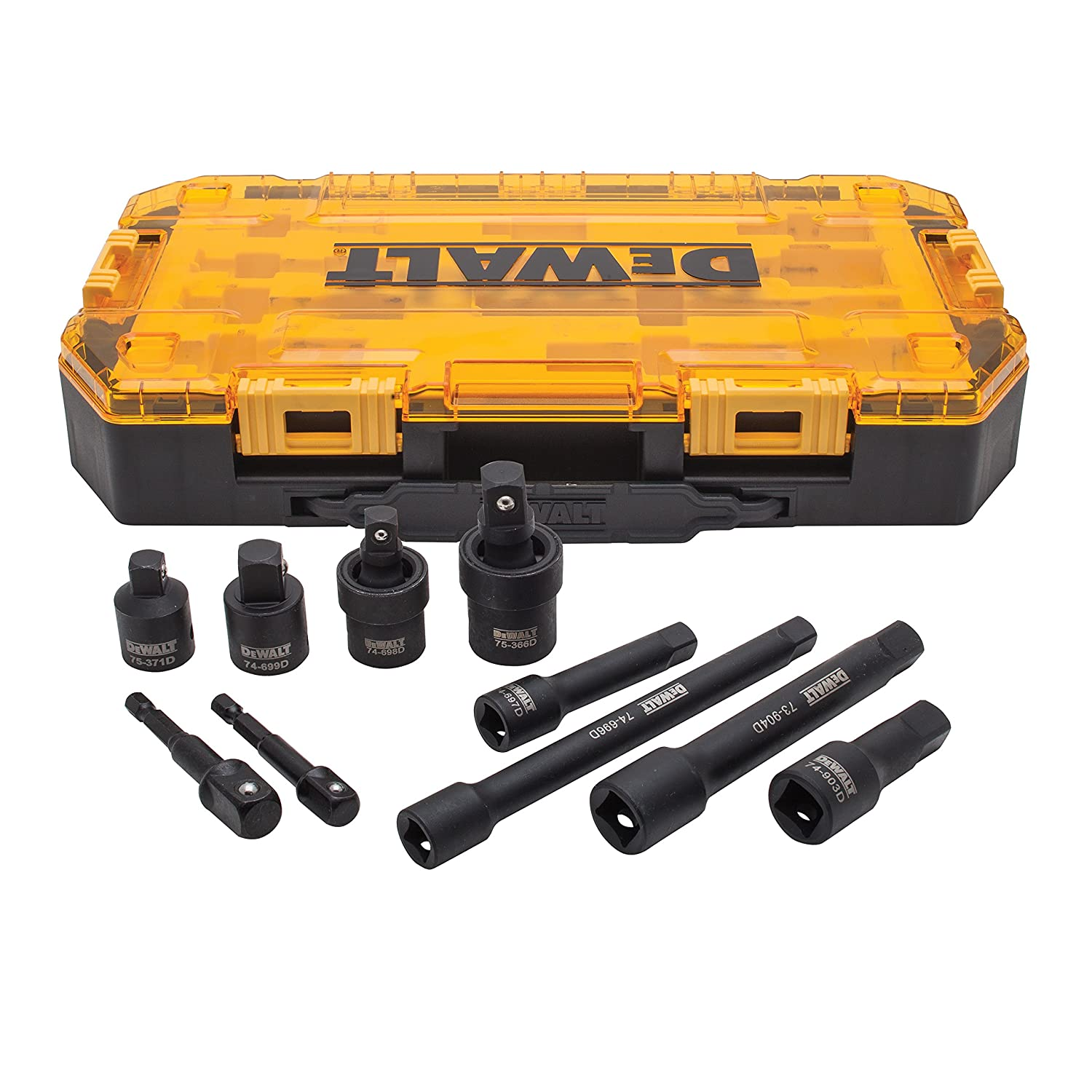 "DEWALT Impact Driver Socket Adapter Set, 10-Piece 3/8"" & 1/2"" Drive Metric (DWMT74741)"