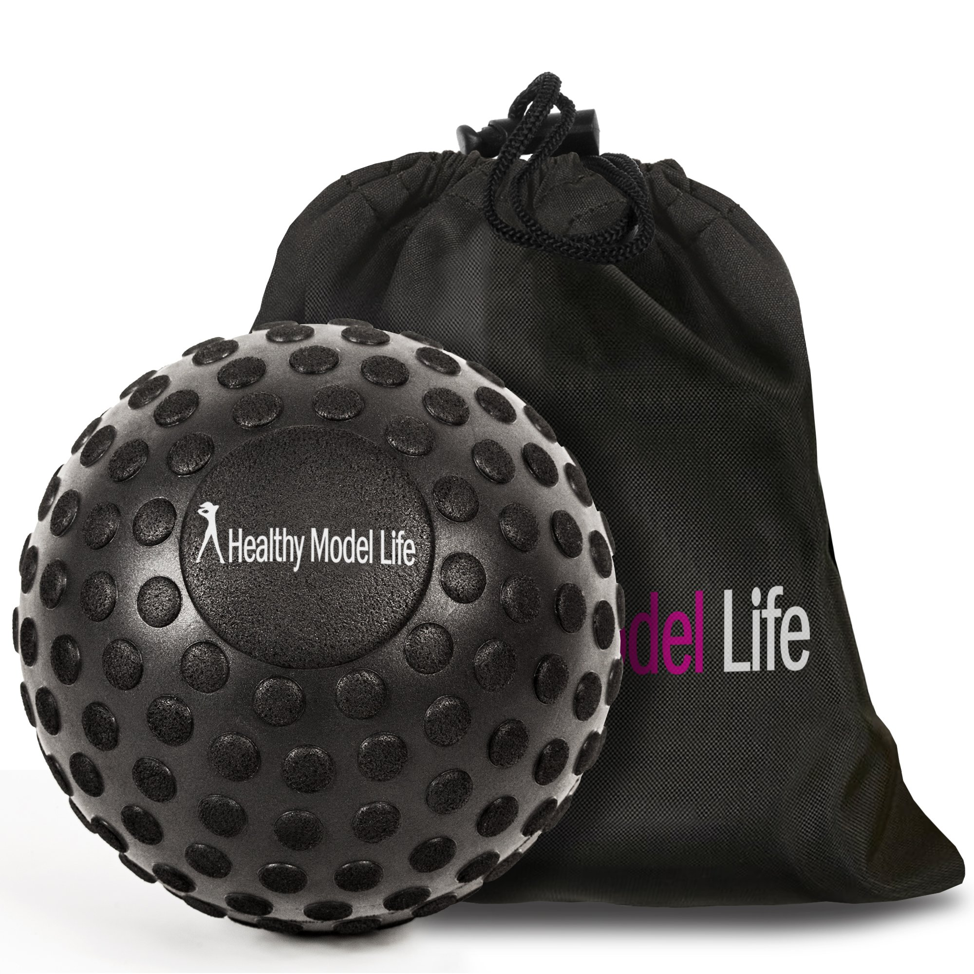 HEALTHYMODELLIFE 5'' Foam Roller Massage Ball by Healthy Model Life - Better Than Any Foam Roller For Trigger Point and Glute Release - Includes Free Carry Bag
