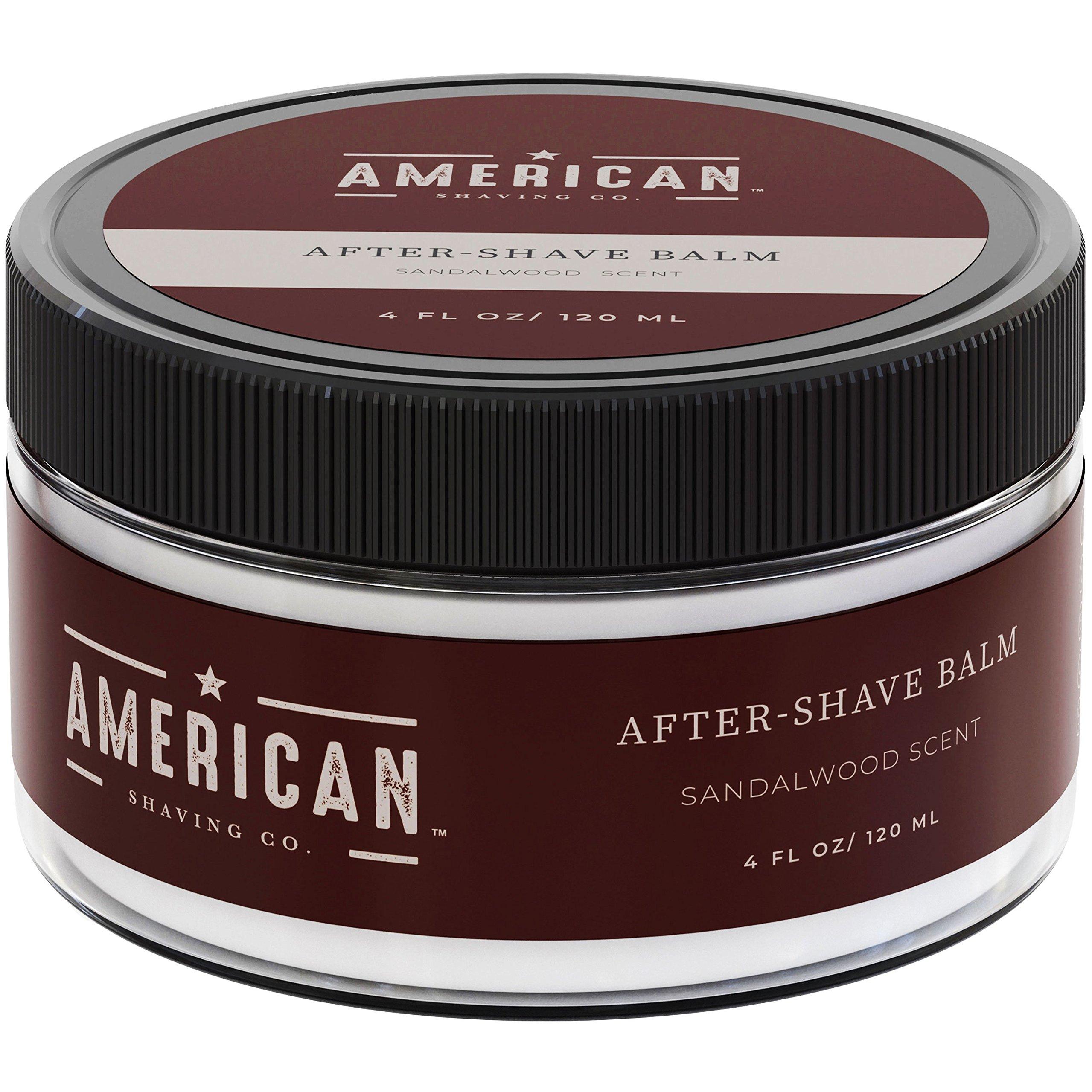 American Shaving After Shave Balm For Men (4oz) - Sandalwood Barbershop Scent - 100% Natural Moisturizing Aftershave Lotion - Best Aftershave For Men to Soothe Dry Sensitive Skin (Packaging May Vary)