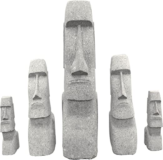 Cabeza de moai, piedra natural (basanita) 60 x 55 x 200 cm: Amazon.es: Jardín