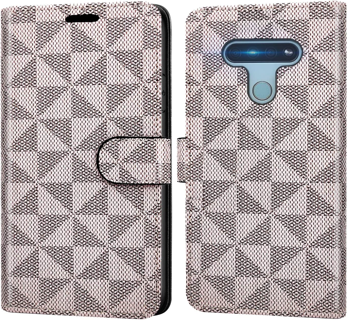 Amazon Com Coveron Wallet Pouch For Lg K51 Case Lg Reflect Case Rfid Blocking Flip Folio Stand Pu Leather Phone Cover Beige Checker